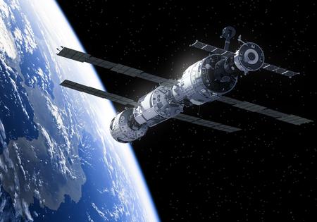 orbital station: International Space Station In Space. 3D Illustration.