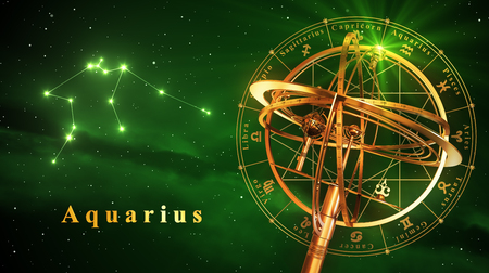 Armillary Sphere And Constellation Aquarius Over Green Background. 3D Illustration.