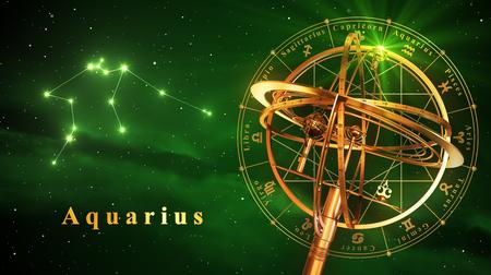 reloj de sol: Esfera armilar Y constelación de Acuario sobre fondo verde. Ilustración 3D.