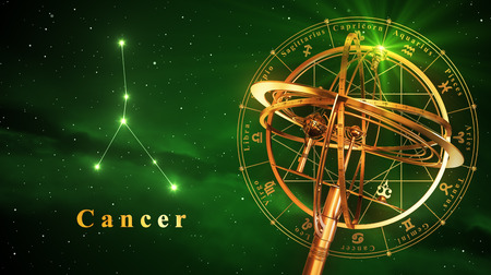 Armillary Sphere And Constellation Cancer Over Green Background. 3D Illustration. Stock Photo