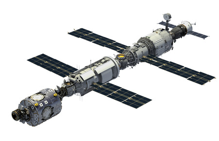 orbital spacecraft: International Space Station Over White Background. 3D Illustration. Stock Photo