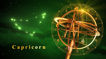 Armillary Sphere And Constellation Capricarn Over Green Background. 3D Illustration.