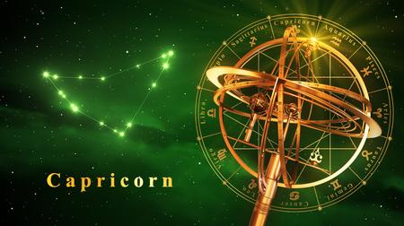reloj de sol: Esfera armilar Y Constelación Capricarn sobre fondo verde. Ilustración 3D.