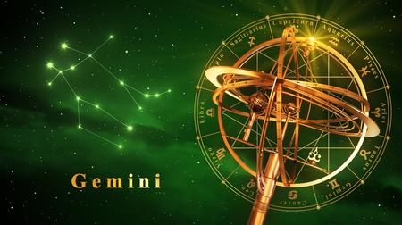 reloj de sol: Esfera armilar y la constelación de Gemini sobre fondo verde. Ilustración 3D. Foto de archivo