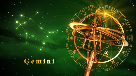 Armillary Sphere And Constellation Gemini Over Green Background. 3D Illustration. Stock Photo