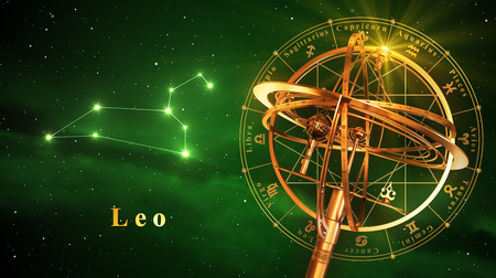 astral: Armillary Sphere And Constellation Leo Over Green Background. 3D Illustration. Stock Photo