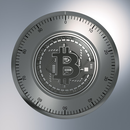 lock concept: Concept Of Bitcoin Like A Security Lock. 3D Illustration.