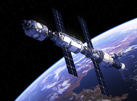 earth from space: International Space Station Orbiting Earth. 3D Illustration.