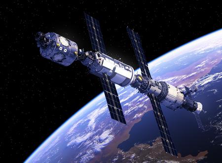 orbital station: International Space Station Orbiting Earth. 3D Illustration.
