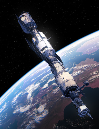 space station: International Space Station Flying Over The Earth. 3D Illustration.