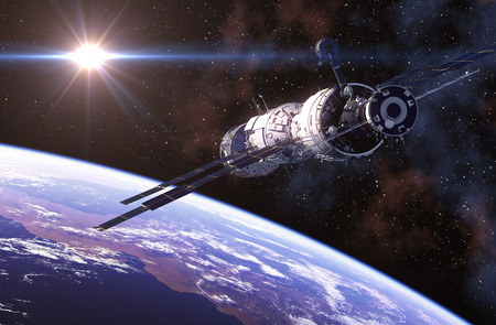 International Space Station In Outer Space. 3D Illustration. Stock Photo