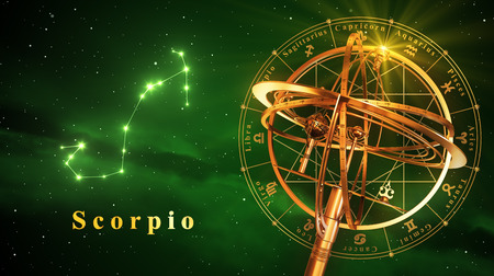 Armillary Sphere And Constellation Scorpio Over Green Background. 3D Illustration.
