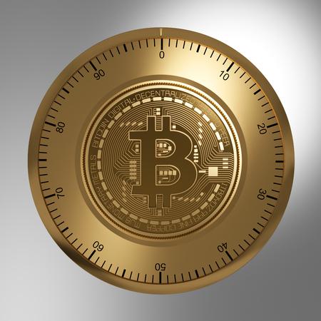 banco dinero: Concepto de oro de Bitcoin como una cerradura de seguridad. Ilustración 3D. Foto de archivo