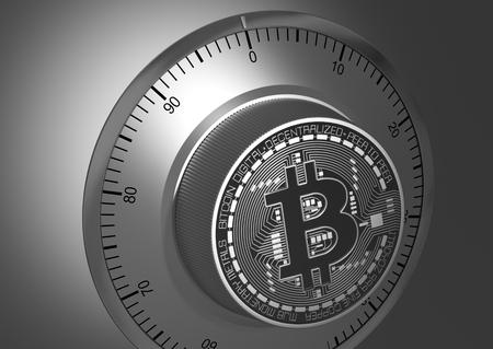 safe lock: Close-Up Of Bitcoin Like A Safe Lock. 3D Illustration. Stock Photo