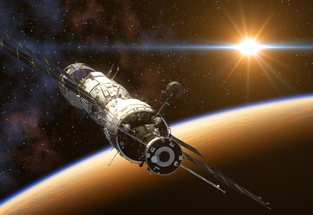 russian: International Space Station On Background Of The Sun. 3D Illustration. Stock Photo