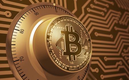 Concept van goud Bitcoin als een elektronisch beveiligingsslot. 3D illustratie.