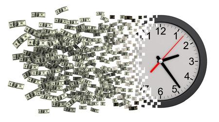 falling apart: Time Is Money. Clock Falling Apart To Dollars. 3D Illustration.