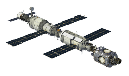 space station: International Space Station On White Background. 3D Illustration.