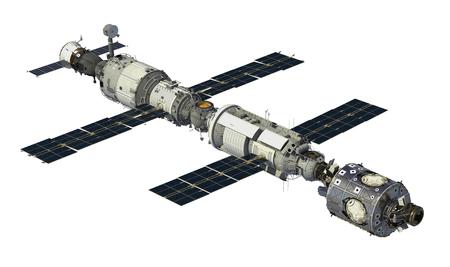 International Space Station On White Background. 3D Illustration.