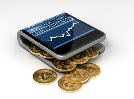 Concept van Virtual Portefeuille En Bitcoins. 3D Illustratie.