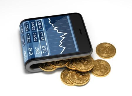 Concepto de billetera virtual y bitcoins. Ilustración 3D.