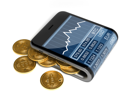 Concept Of Digital Wallet And Bitcoins On White Background. 3D Illustration.