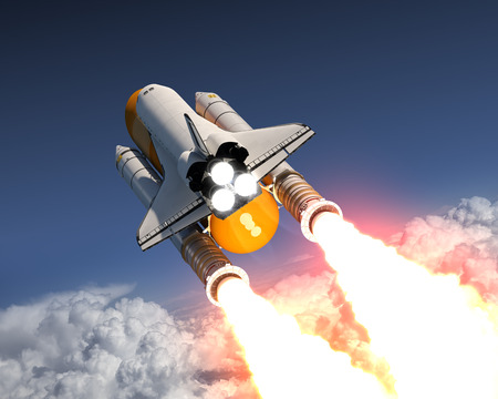 space station: Space Shuttle Launch Above The Clouds. 3D Illustration.
