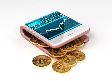 Concept van Virtual Portefeuille En Bitcoins. Gold Bitcoins Spill Out Of The Pink Curved Smartphone. Het scherm toont een grafiek van de Bitcoin koersgrafiek en andere valuta. 3D Illustratie.