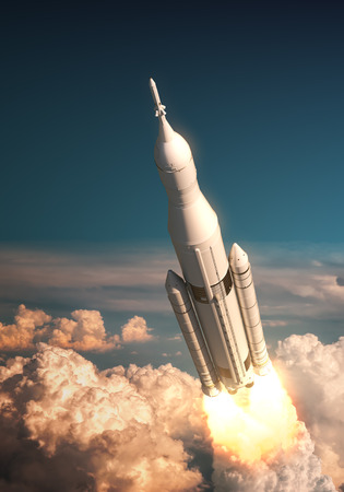 Space Launch System Takes Off Over The Clouds. 3D Illustration. Stock Photo