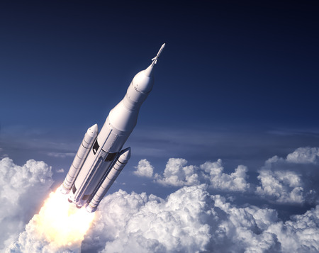 Space Launch System Takes Off In The Blue Sky. 3D Illustration.