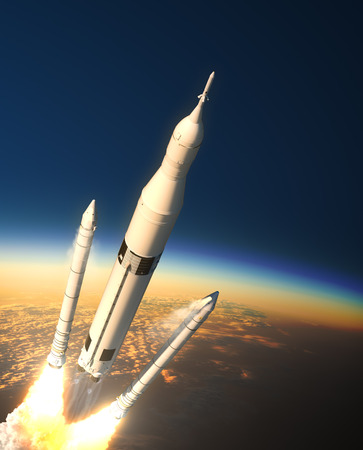 orbital station: Space Launch System Solid Rocket Boosters Separation In Stratosphere. 3D Illustration.