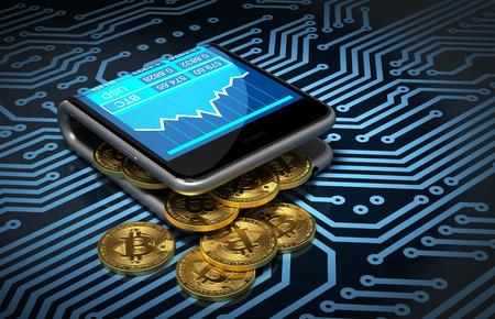 Concepto De Digital Wallet Y bitcoins En placa de circuito impreso. Oro bitcoins derrame fuera de los curvado Smartphone. Ilustración 3D.