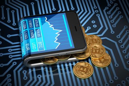 Concept van Virtual Portefeuille En Bitcoins Op Printed Circuit Board. Gold Bitcoins morsen uit de Curved Smartphone. 3D Illustratie. Stockfoto