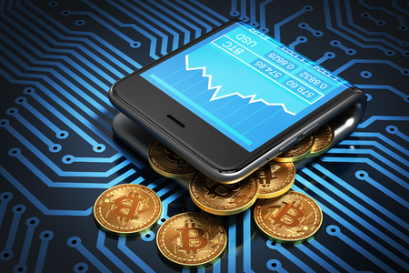 Concept van digitale Portefeuille En Bitcoins Op Printed Circuit Board. Bitcoins morsen uit de Curved Smartphone. 3D Illustratie. Stockfoto