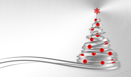 aluminum: Christmas Tree From White Tapes With Red Balls Over Metal Background. 3D Illustration.