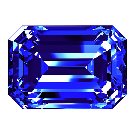 scintillation: Sapphire Emerald Cut Over White Background. 3D Illustration. Stock Photo