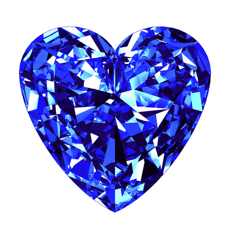 Sapphire Heart Cut Over White Background. 3D Illustration.