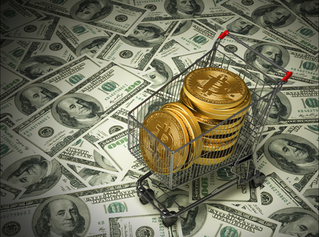 purchased: Concept Of Purchased Bitcoins In The Shopping Cart And Dollars. 3D Illustration. Stock Photo