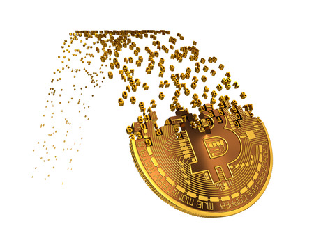 falling apart: Bitcoin Goes Down After Ups And Falling Apart To Digits. 3D Illustration. Stock Photo
