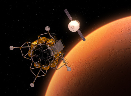 space station: Interplanetary Space Station Orbiting Red Planet. 3D Illustration.
