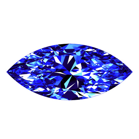 marquise: Sapphire Marquise Cut Over White Background. 3D Illustration. Stock Photo