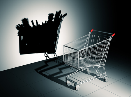 surrealistic: Empty Shopping Cart Cast Shadow On The Wall As Full Shopping Cart. 3D Illustration.
