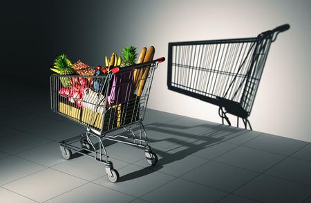 falso: Carro de compras lleno sombra proyectada en la pared como carro de compras vacío. Ilustración 3D. Foto de archivo