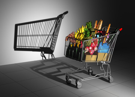 Shopping Cart Full Of Food Cast Shadow On The Wall As Empty Shopping Cart. 3D Illustration. Zdjęcie Seryjne