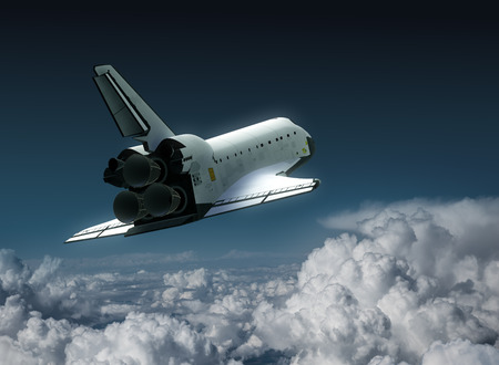 shuttle: Space Shuttle In The Clouds. 3D Illustration.