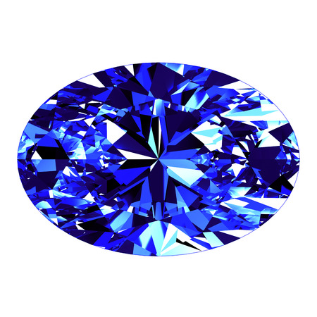 Sapphire Oval Cut Over White Background. 3D Illustration.