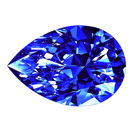 Sapphire Pear Cut Over White Background. 3D Illustration. Stock Photo