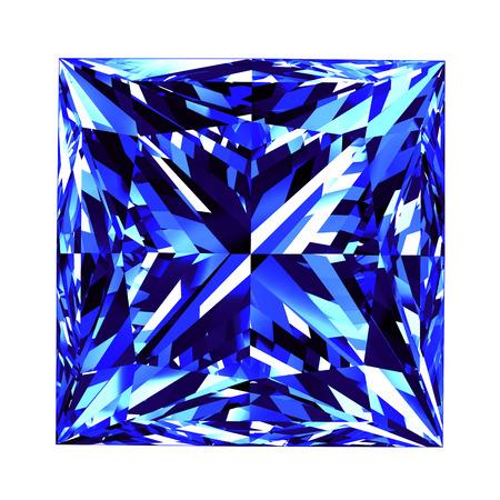 Sapphire Princess Cut Over White Background. 3D Illustration.