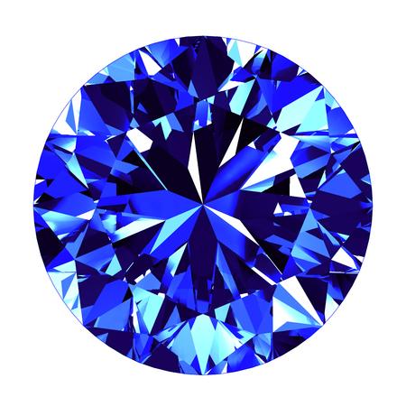 Sapphire Ronde Cut Op Witte Achtergrond. 3D Illustratie. Stockfoto