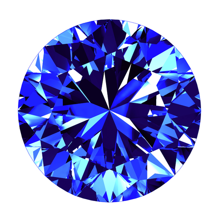sapphire: Sapphire Round Cut Over White Background. 3D Illustration.